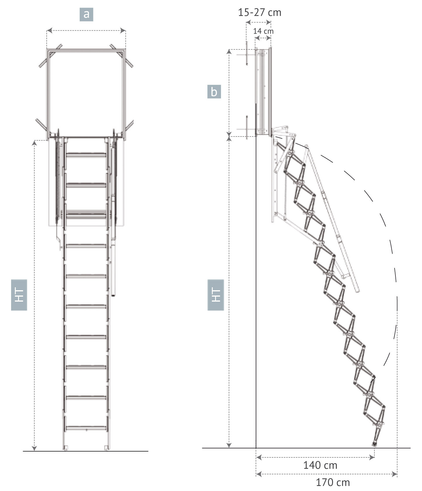Vertical Wall Access Loft Ladder Vertical Access