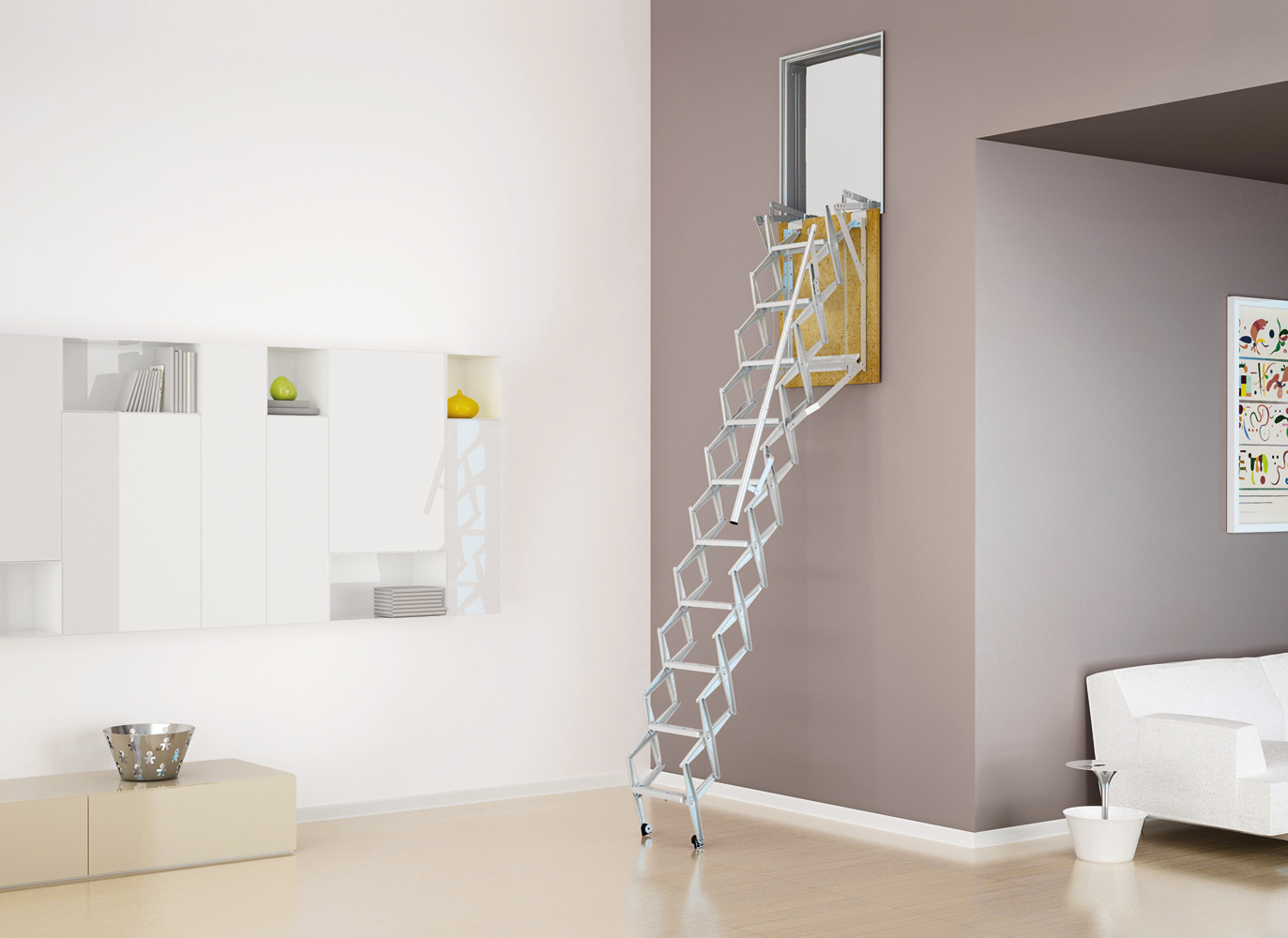 Wall Mounted Retractable Ladders Vertically Integrated Stairs