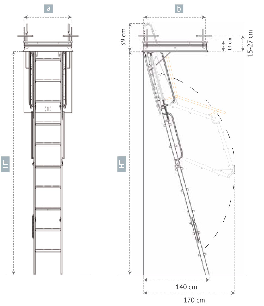 Escalera Escamoteable De Tramos R Gida Escalera Plegable ~ Dimensiones Escalera De Caracol