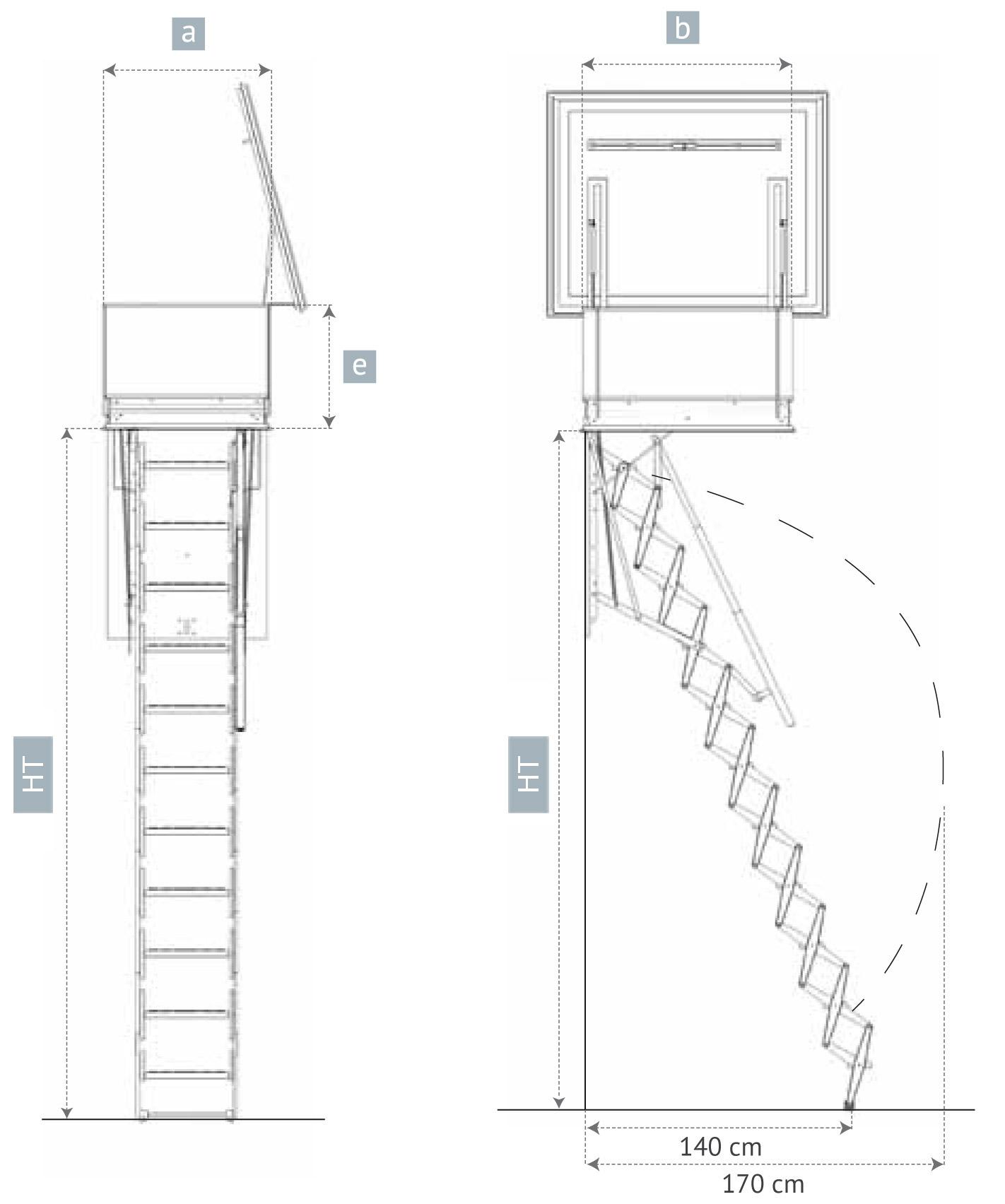 Escalera Escamoteable Para Terraza Escalera Tipo Tijera Para Techo ~ Dimensiones Escalera De Caracol