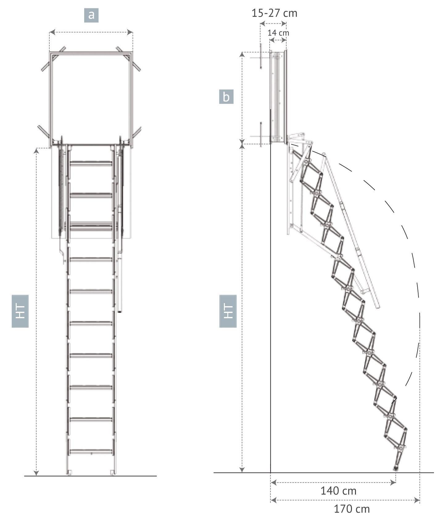 Escalera Escamoteable Para Pared Escalera Escamoteable Vertical ~ Dimensiones Escalera De Caracol
