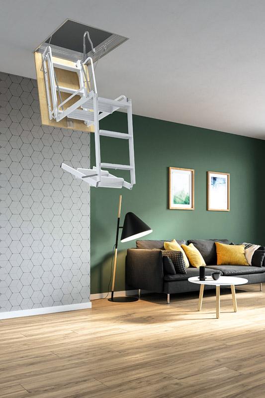 Escalera escamoteable de tramos r gida escalera plegable for Scala per soffitta