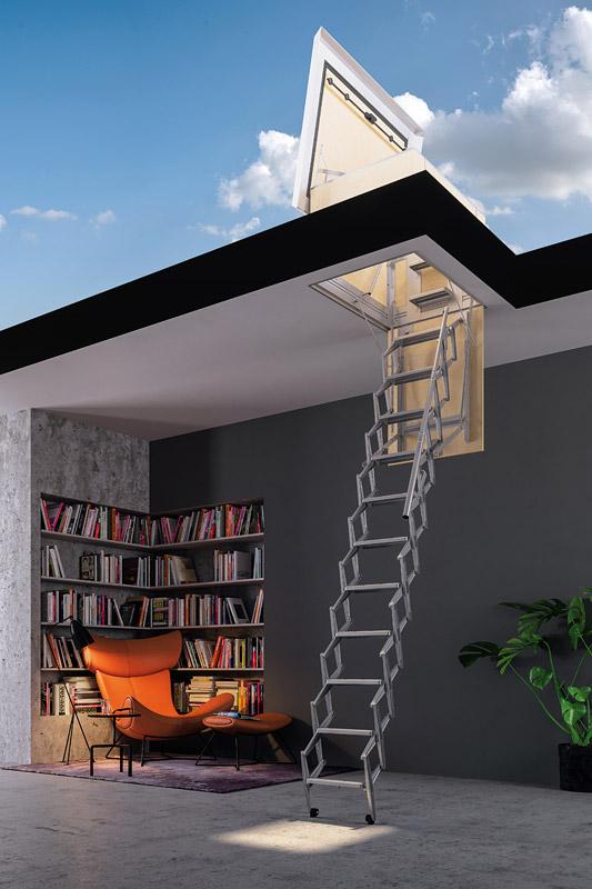 escalier escamotable design with escalier escamotable design escaliers design et modernes. Black Bedroom Furniture Sets. Home Design Ideas