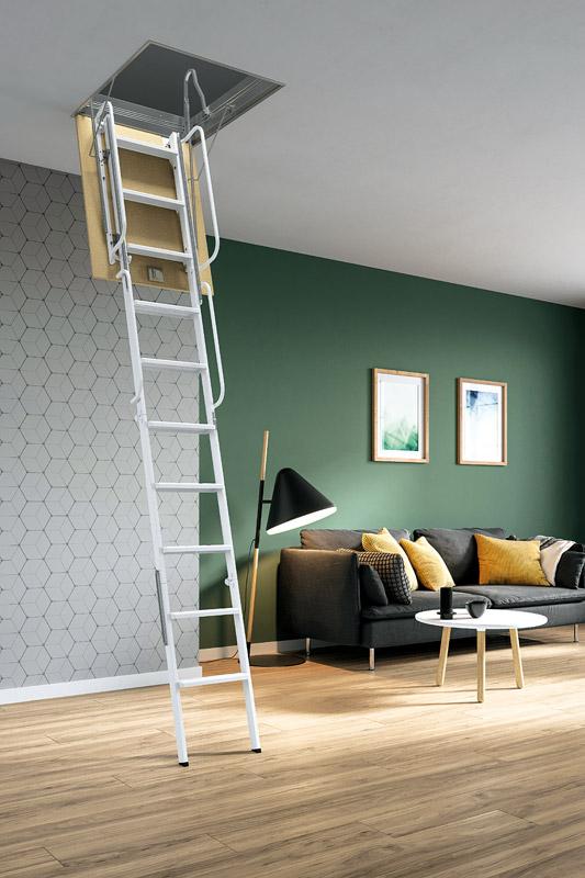escalier escamotable droit m tallique escalier escamotable grenier. Black Bedroom Furniture Sets. Home Design Ideas
