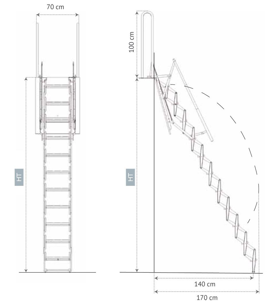 Escalera Escamoteable Para Altillos Palco Scari Scale ~ Dimensiones Escalera De Caracol